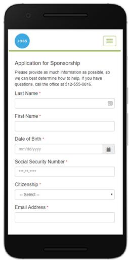intake form on mobile