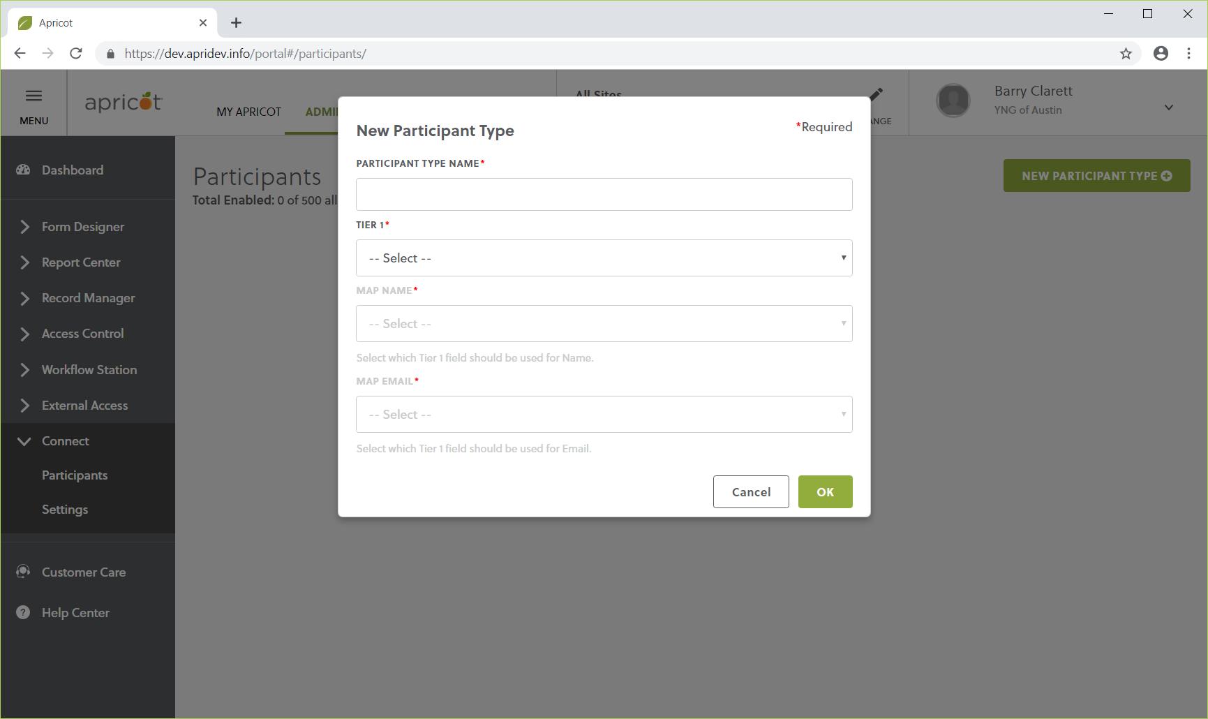 New Participant Screenshot